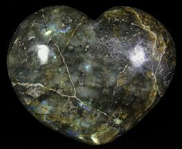 "4.1"" Flashy Polished Labradorite Heart For Sale, #62936"
