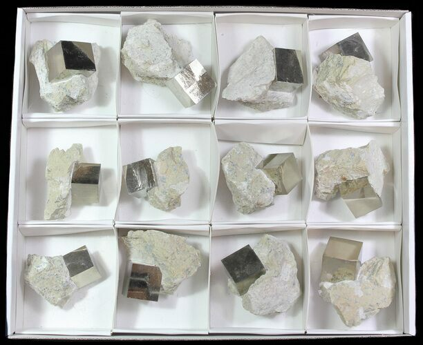 Large, Pyrite Cubes In Rock From Spain (Wholesale Flat)  - 12 Pieces
