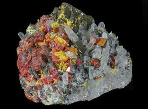 Realgar, Quartz, Galena & Pyrite - Fossils For Sale - #66504