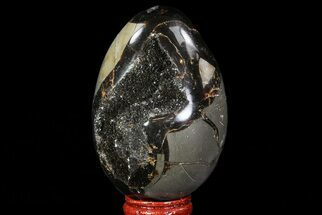 "3.2"" Septarian ""Dragon Egg"" Geode - Black Crystals For Sale, #71900"