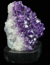 "5.4"" Dark Purple Amethyst Cluster On Wood Base For Sale, #76691"