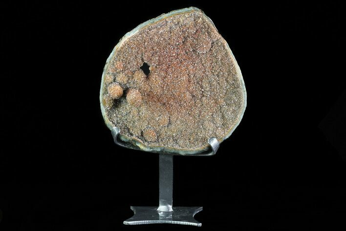 "7.8"" Tall Sparking Plate Of Orange Druzy Quartz On Metal Stand"