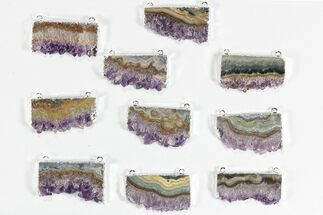 Wholesale Lot: Amethyst Slice Pendants - 10 Pieces For Sale, #78458