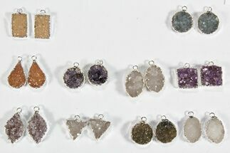 Buy Lot: Amethyst Slice Pendants/Earrings - 10 Pairs - #78481