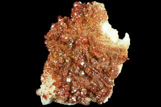 "5"" Ruby Red Vanadinite Crystals on Pink Barite - Very Lustrous For Sale, #80534"