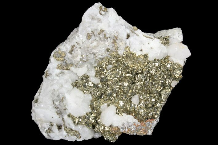 "3.6"" Pyrite On Calcite - El Hammam Mine, Morocco"