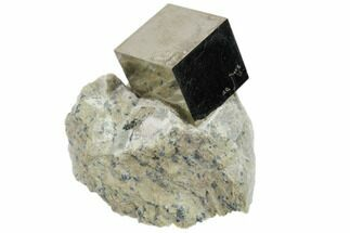 "Perfect, .8"" Natural Pyrite Cube In Rock From Spain For Sale, #82067"