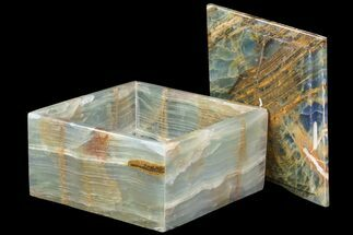 "5.95"" Wide Blue Onyx Jewelry Box For Sale, #84119"