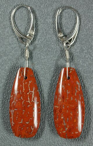Red, Agatized Dinosaur Bone (Gembone) Earrings