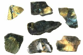 Wholesale: 1kg One Side Polished Labradorite - 7 Pieces For Sale, #84536