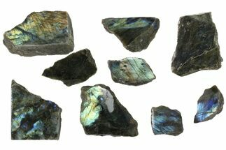 Wholesale: 1kg One Side Polished Labradorite - 9 Pieces For Sale, #84554