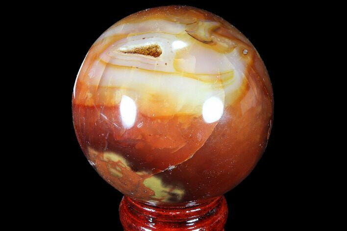 "2.75"" Colorful Carnelian Agate Sphere - Madagascar"