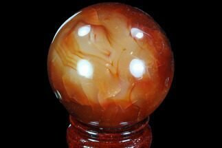 "2.25"" Colorful Carnelian Agate Sphere For Sale, #88838"