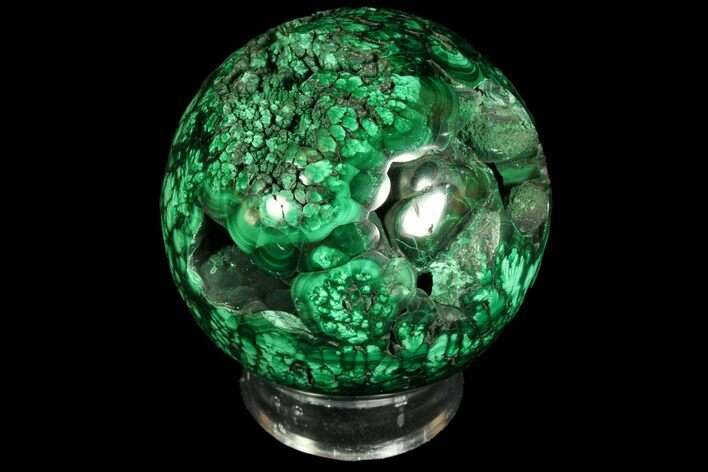 "Beautiful, 2.8"" Polished Malachite Sphere - Congo"