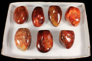 "Buy Wholesale Lot: 3.5-4.5"" Cut Base Polished Carnelian - 7 pieces - #92416"