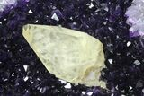 "12"" Amethyst ""Jewelry Box"" Geode With Calcite On Metal Stand - #94221-7"