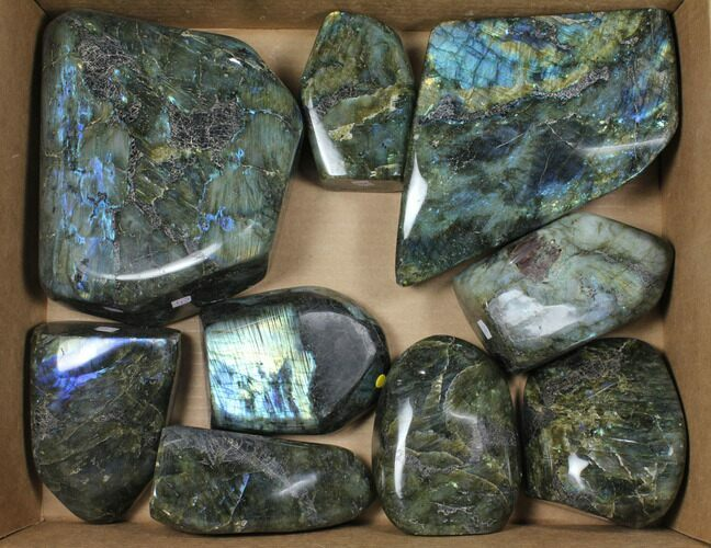Wholesale Lot: 27+ Lbs Free-Standing Polished Labradorite - 9 Pieces