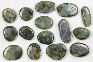 Lot: Polished Labradorite Pebbles - 1 kg (2.2 lbs) For Sale, #90548