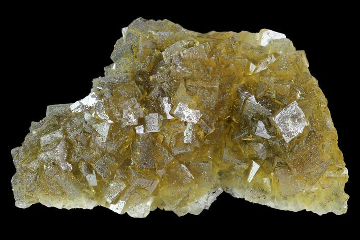 "3.3"" Yellow, Cubic Fluorite Crystal Cluster - Spain"