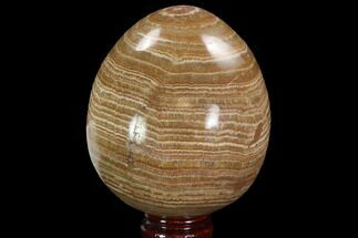 "Buy 4.6"" Polished, Banded Aragonite Egg - Morocco - #98932"