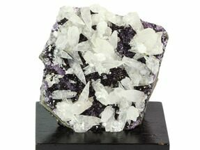 "3.2"" Amethyst Cluster with Calcite On Wood Base - Uruguay For Sale, #100319"