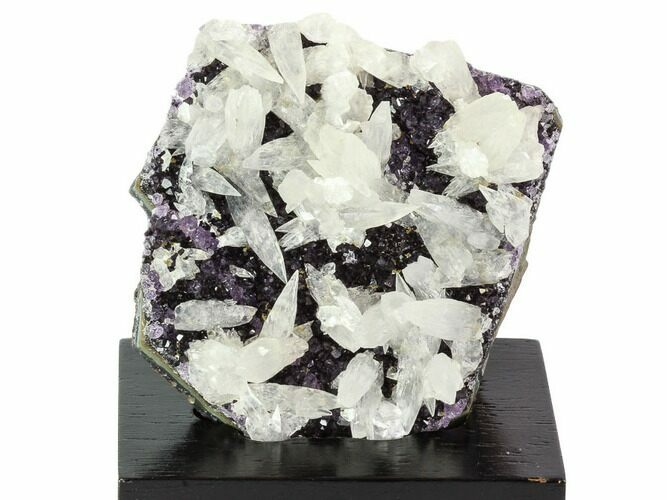 "3.2"" Amethyst Cluster with Calcite On Wood Base - Uruguay"