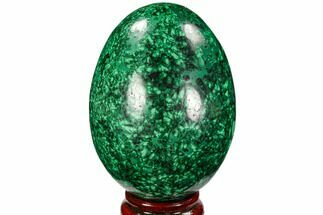 "3.75"" Flowery, Polished Malachite Egg - Congo For Sale, #106259"