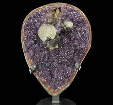 "16.4"" Amethyst Geode With Calcite on Metal Stand - Uruguay For Sale, #107708"