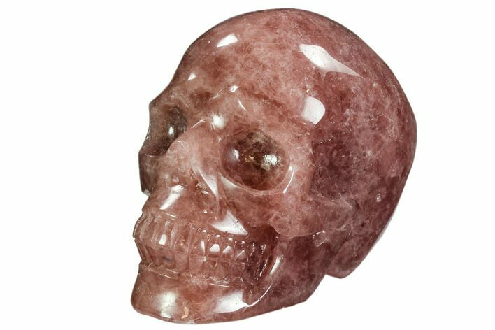 "5.6"" Carved, Strawberry Quartz Crystal Skull - Madagascar"