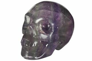 "Buy 2"" Colorful, Banded (Rainbow) Fluorite Skull - #110074"