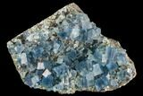 "3.4"" Blue Cubic Fluorite on Quartz - China - #111907-1"