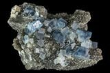 "2.7"" Blue Cubic Fluorite on Quartz - China - #111909-1"
