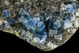 "5.2"" Blue Cubic Fluorite on Quartz - China - #112187-2"