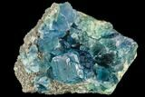 "4"" Blue-Green Stepped Fluorite on Quartz - China - #112189-2"