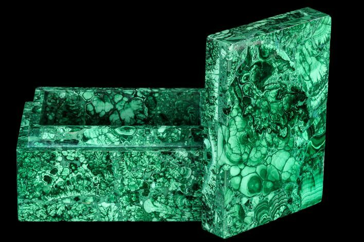 "4.4"" Wide Malachite Jewelry Box - Congo"