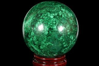 "3.4"" Flowery, Polished Malachite Sphere - Congo For Sale, #113420"