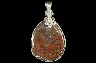 Wire Wrapped Fossil Dinosaur Bone (Gembone) Pendant For Sale, #115175