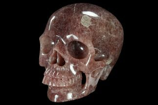 "Buy 6"" Realistic, Carved Strawberry Quartz Crystal Skull - #116362"