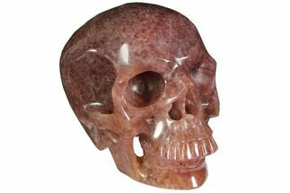"Buy 5"" Realistic, Carved Strawberry Quartz Crystal Skull - #116689"