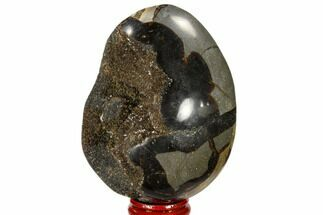 "3.6"" Septarian ""Dragon Egg"" Geode - Black Crystals For Sale, #118703"