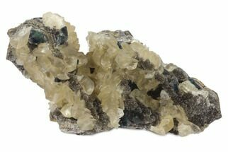"8"" Blue-Green Fluorite and Yellow Calcite on Quartz - Fluorescent! For Sale, #120311"