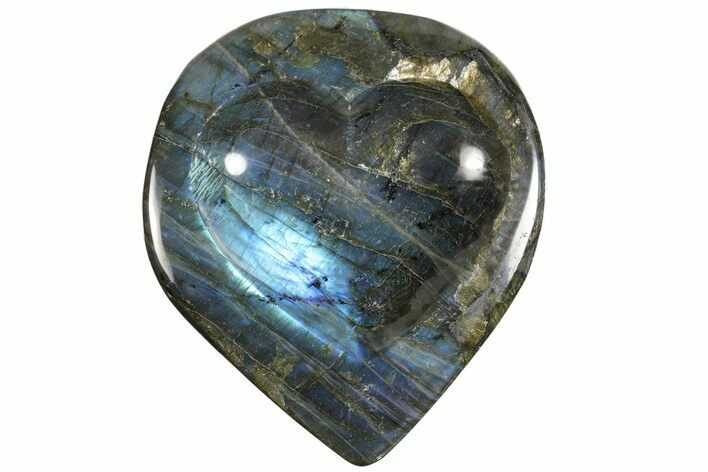 "6.6"" Flashy Labradorite Heart-Shaped Dish - Madagascar"