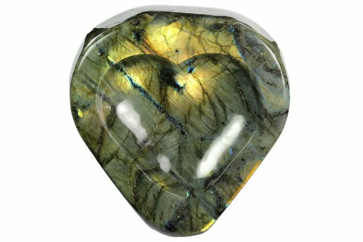 "6.5"" Flashy Labradorite Heart-Shaped Dish - Madagascar"