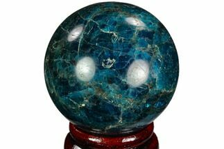 "2.19"" Bright Blue Apatite Sphere - Madagascar For Sale, #121832"