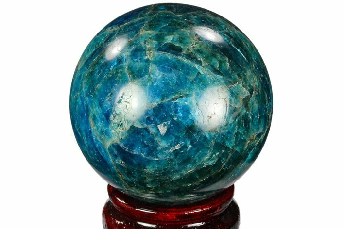 "2.35"" Bright Blue Apatite Sphere - Madagascar"