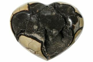 "Buy 5.8"" Polished Septarian Geode Heart - Black Crystals - #124546"