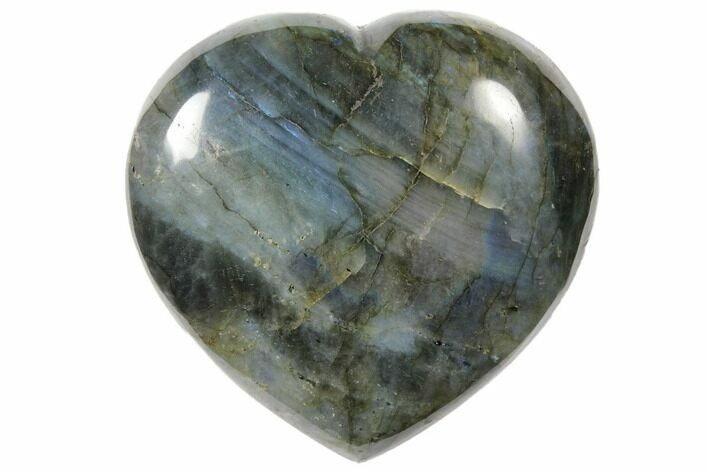 "4.2"" Flashy Polished Labradorite Heart - Madagascar"