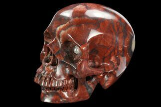 "5"" Realistic, Polished Red Picture Jasper Skull  For Sale, #127604"