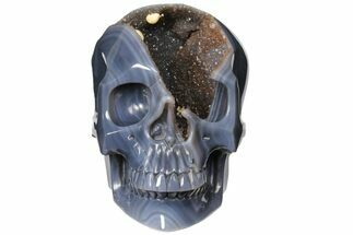 "Buy 7.7"" Hollow Carved Agate Geode Skull - Incredible! (Sale Price) - #127600"