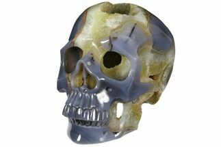 "8.1"" Polished Blue Agate Skull With Quartz Crystal Pocket For Sale, #127601"